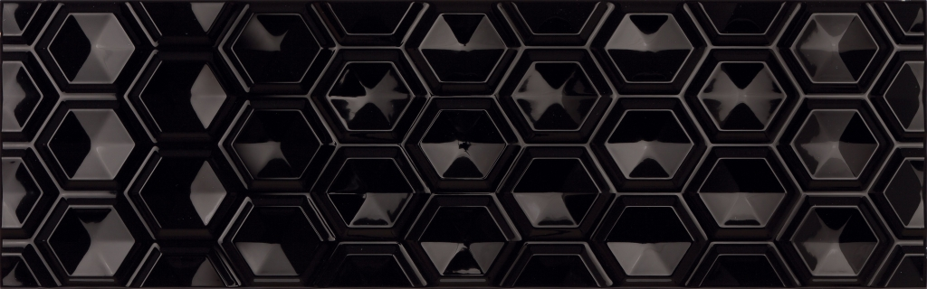 Плитка (25х80) OLDEN HEXAGON NEGRO BRILLO